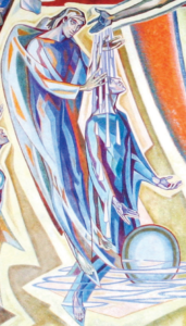 Depiction of Sacrament of Baptism from Chapel Mural by Isabel Piczek.