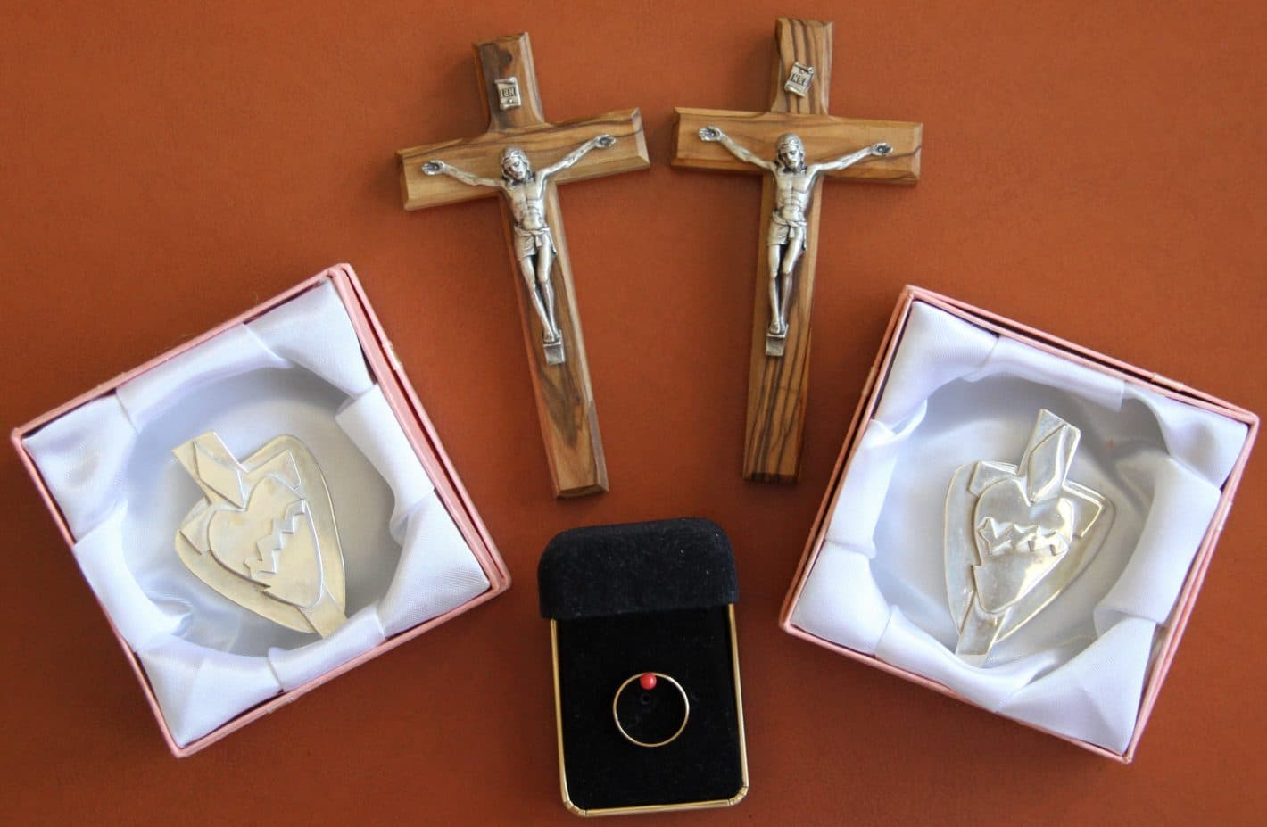 Gold Ring for Final Profession; Profession Crucifixes and Silver Sacred Heart Badges received at First Profession