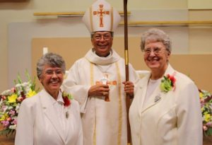 Sister Carmen, Bishop Alex Aclan, Sister Sharon after the Mass of Thanksgiving in August at Our Lady of Lourdes parish