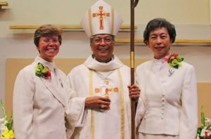 Sister Michelle, Bishop Alex Aclan, Sister Andrea after the Mass of Thanksgiving in August at Our Lady of Lourdes parish