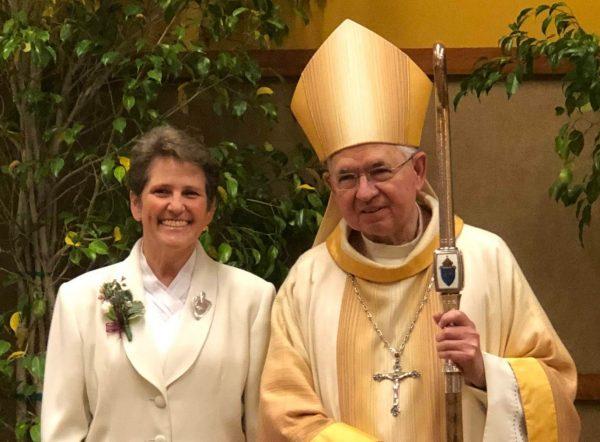 Sister Rosemarie Karl with Archbishop Gomez